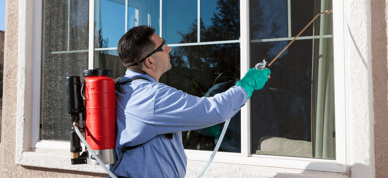 Pest Control tech spraying window