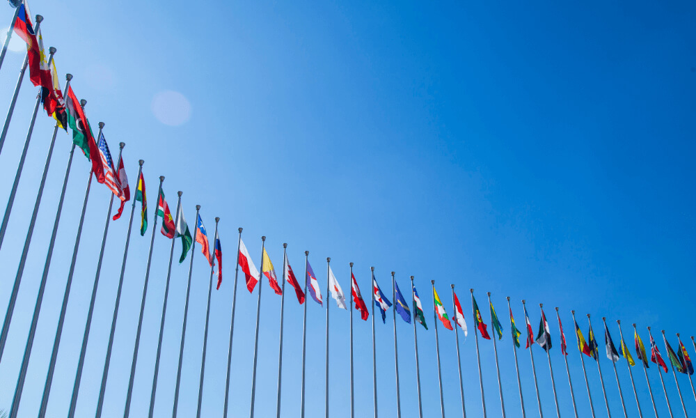 Waving flag at unites nations