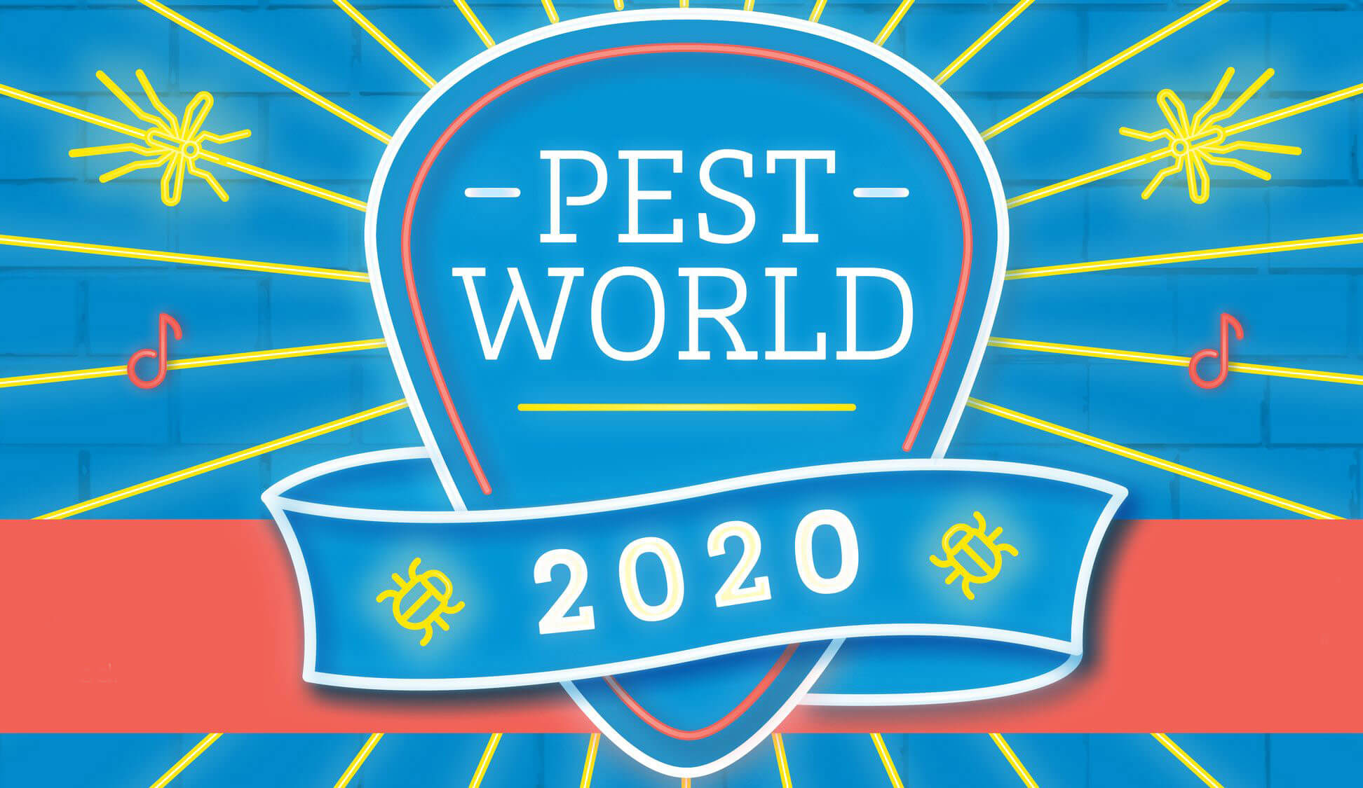 PestWorld 2020 Logo - blue circle surrounded by music notes and graphic pests