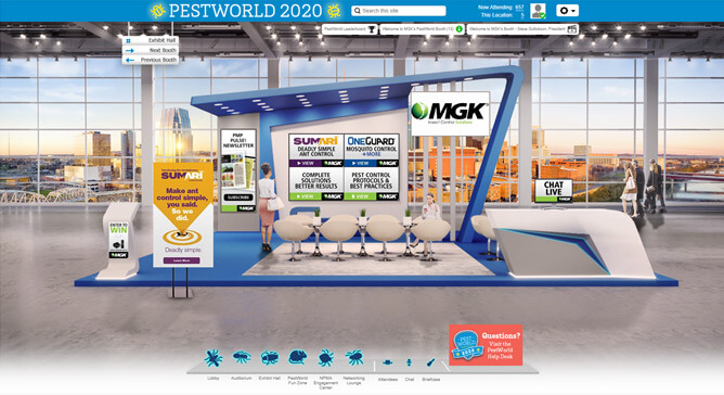 MGK's PestWorld Booth: has video screens for Sumari, OneGuard and our product line, also includes a Chat Now computer, our logo, and an enter-to-win kiosk