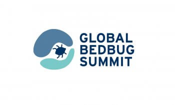 Global Bed Bug Summit Logo - blue letters with darker bed bug graphic