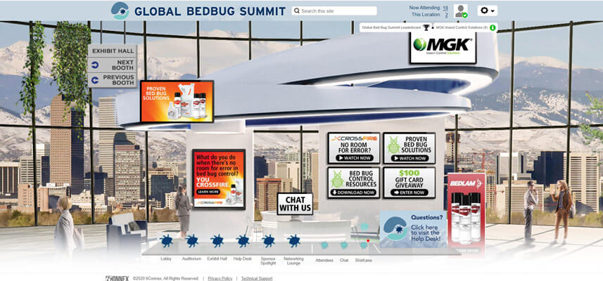MGK's virtual booth at the Global Bed Bug Summit
