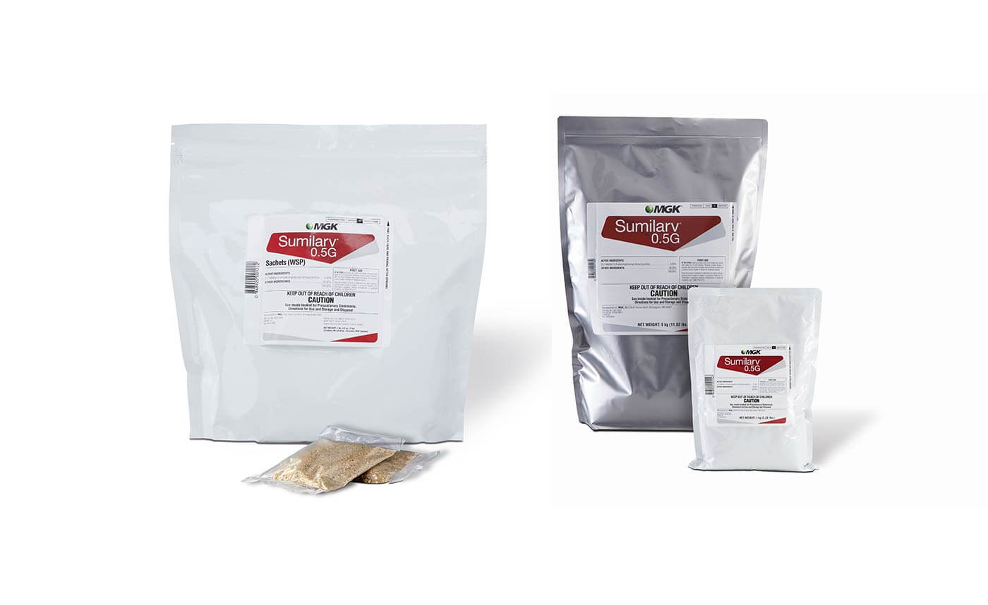 Products pictured: Sumilarv WSP and sachets, Sumilarv 0.5G in two sizes