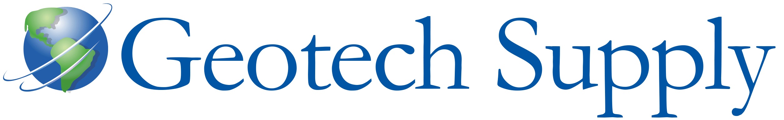 Geotech Supply Logo: Globe with text in blue