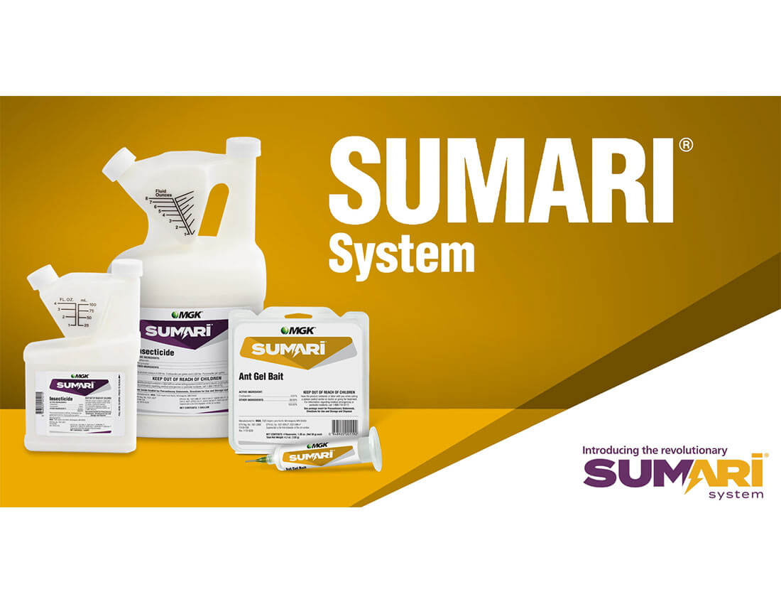 Sumari System: Insecticide product bottles and ant gel bait clamshell