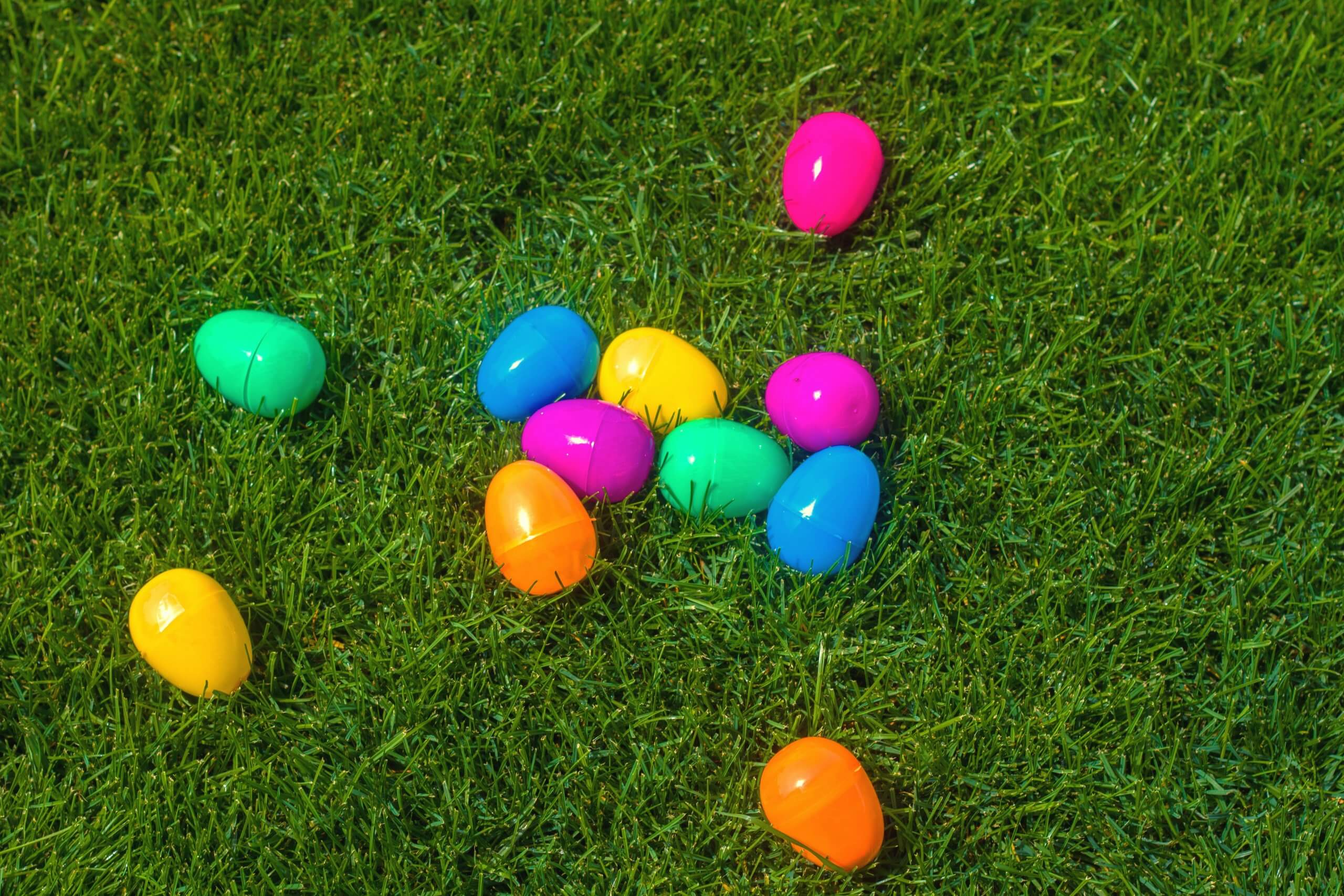 Easter Blog: Colorful, plastic eggs on green lawn