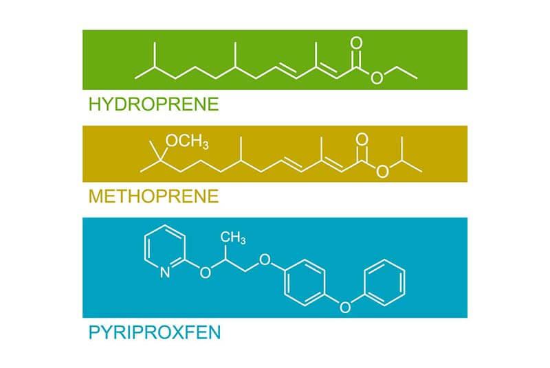 IGR Active Ingredient Structure: pyriproxyfen, hydroprene, and methoprene